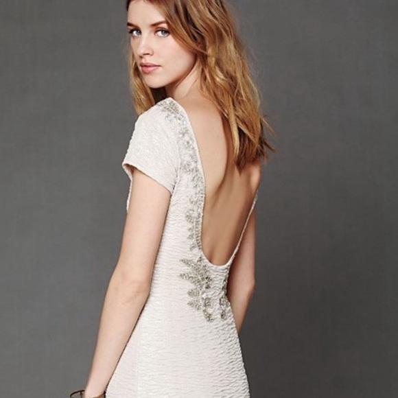 Free People Open Back Jeweled Beige Mini Dress